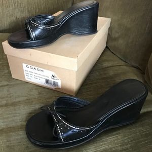 COACH Sandal Black & White - Daria Kid Leather 7.5